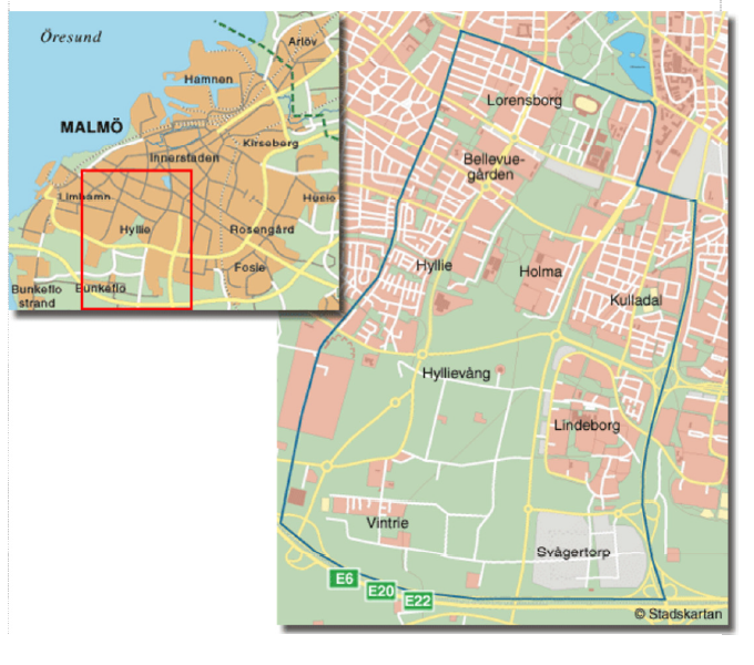 Hyllie Företagsgrupps upptagningsområde är; Bellevuegården, Kulladal, Lindeborg, Lorensborg, Holma, Hyllie, Hyllievång, Svågertorp samt Vintrie.